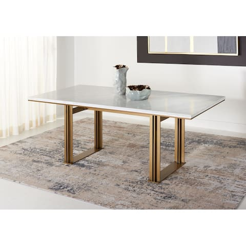 """SAFAVIEH Couture Azalea Marble Rectangle Dining Table - 78.7"""" W x 35.4"""" L x 31.1"""" H"""