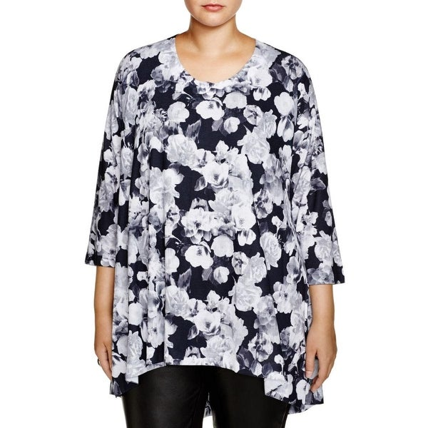 Nally & Millie Womens Plus Casual Top Printed Knit