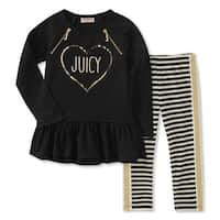 Juicy Couture Baby Girls' 2 Piece  Zipper Sequin Top and Legging Set, 18 Months