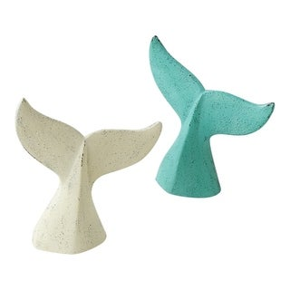 Teal Blue and Antiqued White Whale Tail Door Stops Set of 2 Cast Iron