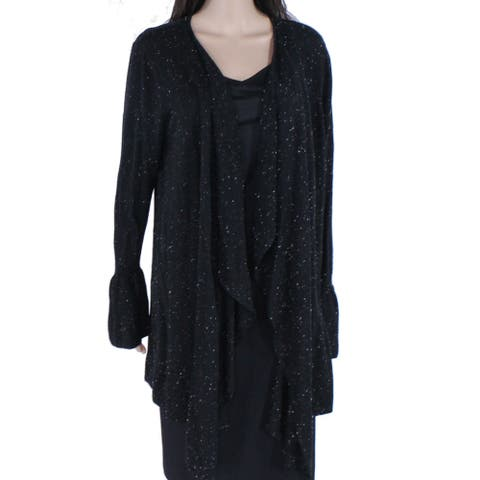 Style & Co Womens Sweater Black 2X Plus Speckled Flounce Sleeve Cardigan