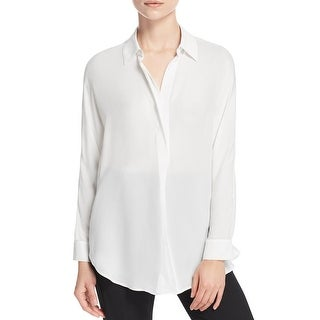 Vince Womens Blouse Silk Collared