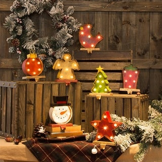 Link to Glitzhome Christmas Marquee LED Stocking Holder Similar Items in Christmas Decorations