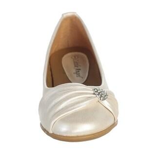 Ivory Rhinestone Heart Girls Flat Dress Shoes 11-4