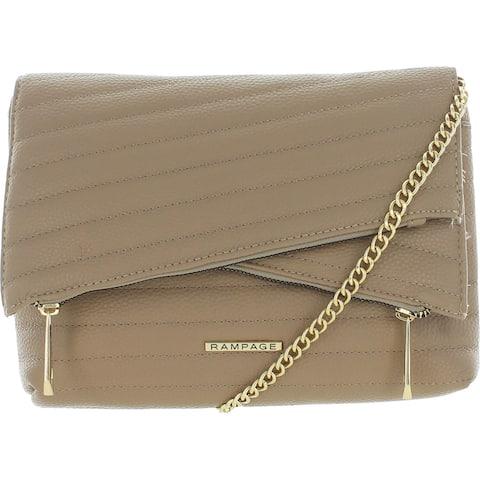 Rampage Women's Quilted Faux Leather Double Zip Clutch Crossbody Handbag - Medium