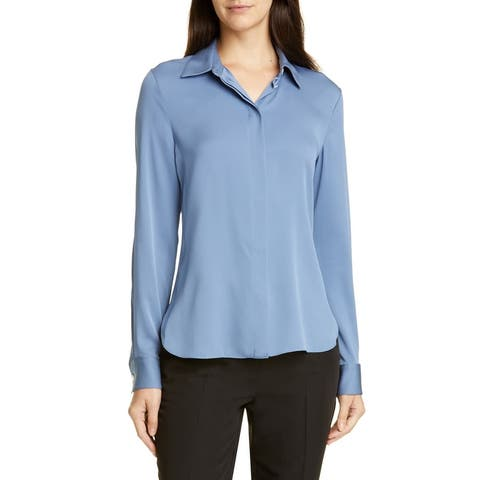 Theory Women's Blouse Blue Size Medium M Classic Fitted Solid Silk