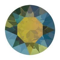 Swarovski Elements Crystal, 1088 Xirius Round Stone Chatons ss39, 6 Pieces, Iridescent Green F