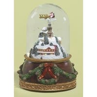 "Set of 2 Musical Santa Claus Flying Over Town Rotating Christmas Glitterdome 7.5"" - brown"