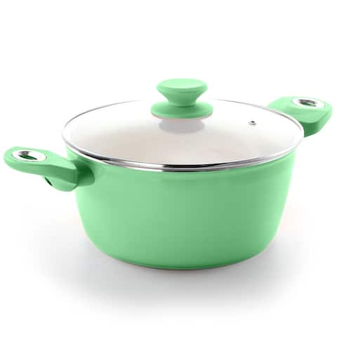 Gibson Home Plaza Cafe Aluminum 4.5 Qt Dutch Oven with Soft Touch Handles in Mint