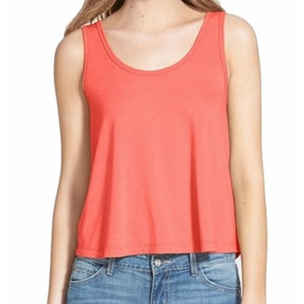9cf971d6980 NEW Orange Coral Rose Size XS Junior Scoop Neck Flutter Knit Tank Top -  Free Shipping On Orders Over  45 - Overstock.com - 17223795