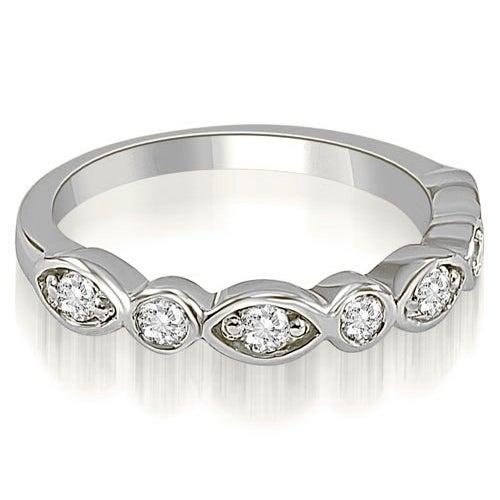 0.35 cttw. 14K White Gold Stylish Bezel Round Cut Diamond Wedding Ring