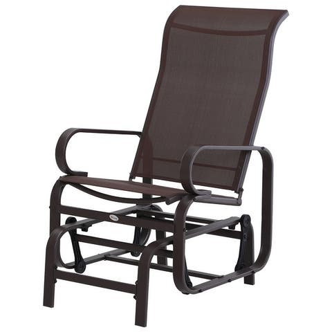 Outsunny Swinging Glider Lounging Chair w/ Smooth Rocking Arms & Lightweight Construction for Patio & Backyard, Brown