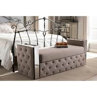 Fiona Stainless Steel Beige Linen Fabric Button-Tufted Storage Bed End Bench