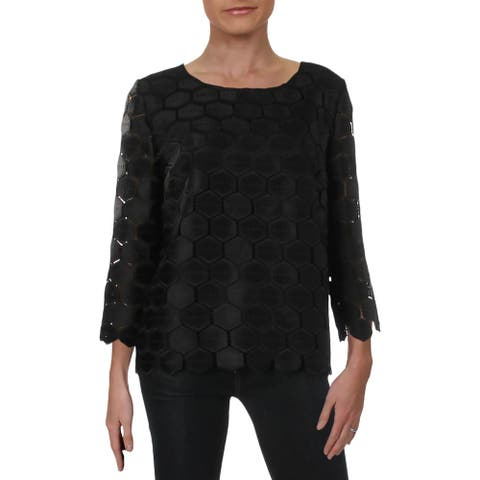 Anne Klein Womens Honeycomb Pullover Top Geometric Dressy
