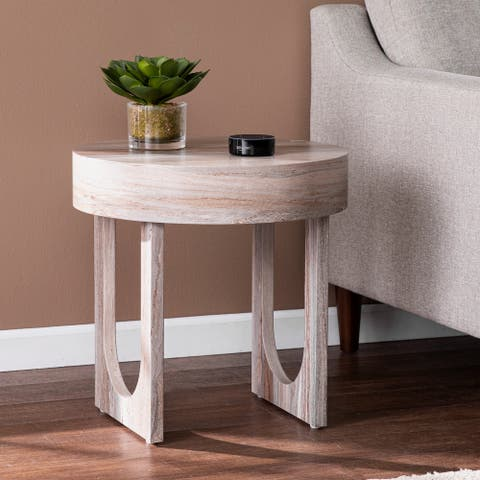 Strick & Bolton Chadwick Contemporary Brown Faux Stone End Table