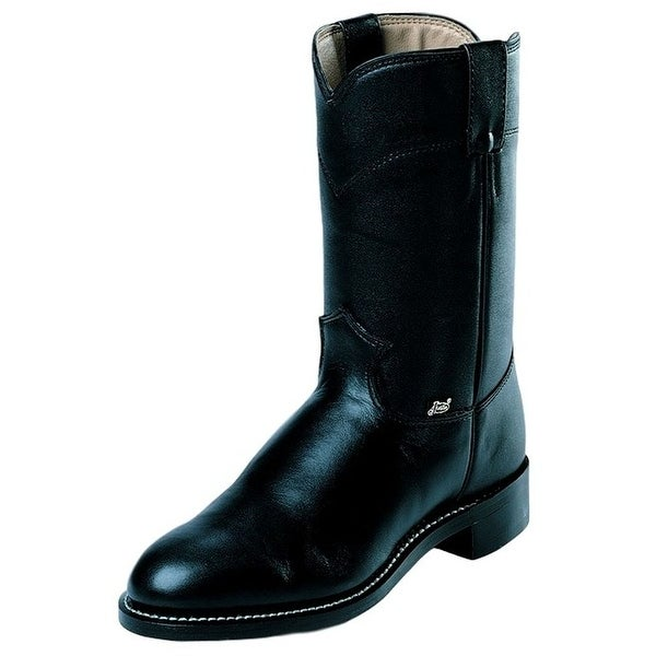 Justin Western Boot Mens Temple Farm Ranch Round Toe Black
