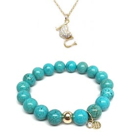 "Julieta Jewelry Set 10mm Turquoise Magnesite Emma 7"" Stretch Bracelet & 18mm I Heart U CZ Charm 16"" 14k Over .925 SS Necklace"