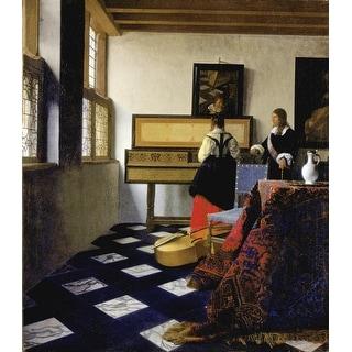Easy Art Prints Johannes Vermeer's 'The Music Lesson' Premium Canvas Art