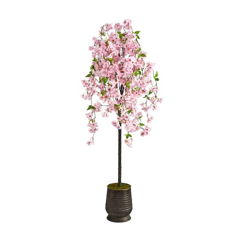"""6' Cherry Blossom Artificial Tree in Ribbed Metal Planter - 12.5"""""""