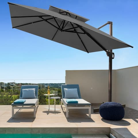 Outdoor Double Top Square 10 FT Offset Cantilever Hanging Patio Umbrella