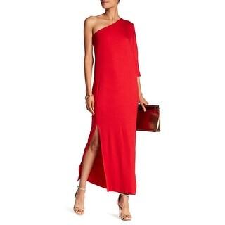 Trina Turk Red Womens Size Medium M One-Shoulder Slit Maxi Dress