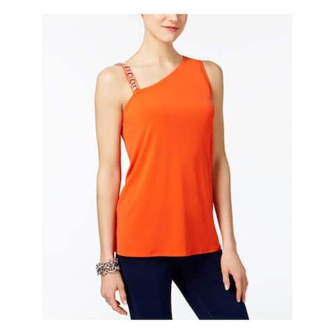 INC Womens Orange Sleeveless Asymmetrical Neckline Top Size L
