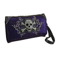 Rhinestone Skull Foil Fabric Wallet w/Removable Straps