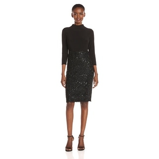 Adrianna Papell Mock Neck Beaded 3/4 Sleeve Jersey Cocktail Dress - 12