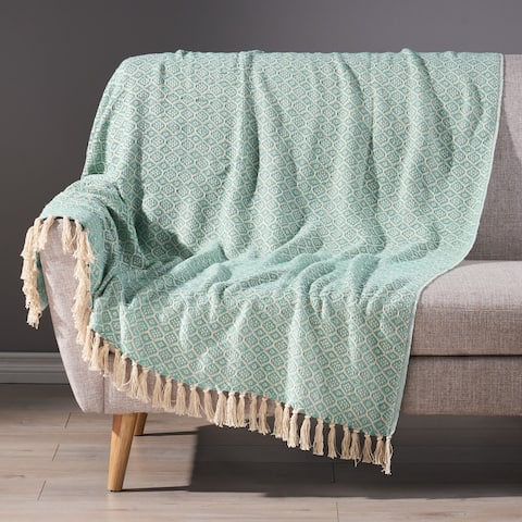 Feys Boho Handcrafted Cotton Throw Blanket by Christopher Knight Home