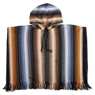 Link to Missoni Beige/Blue Crochet Knit  Zigzag Fringe Hooded Poncho - Large Similar Items in Scarves & Wraps