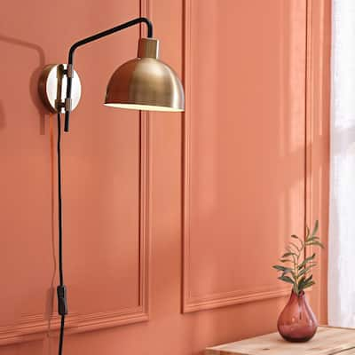 Dimitri 1-Light Antique Brass Plug-In or Hardwire Wall Sconce - 8.25