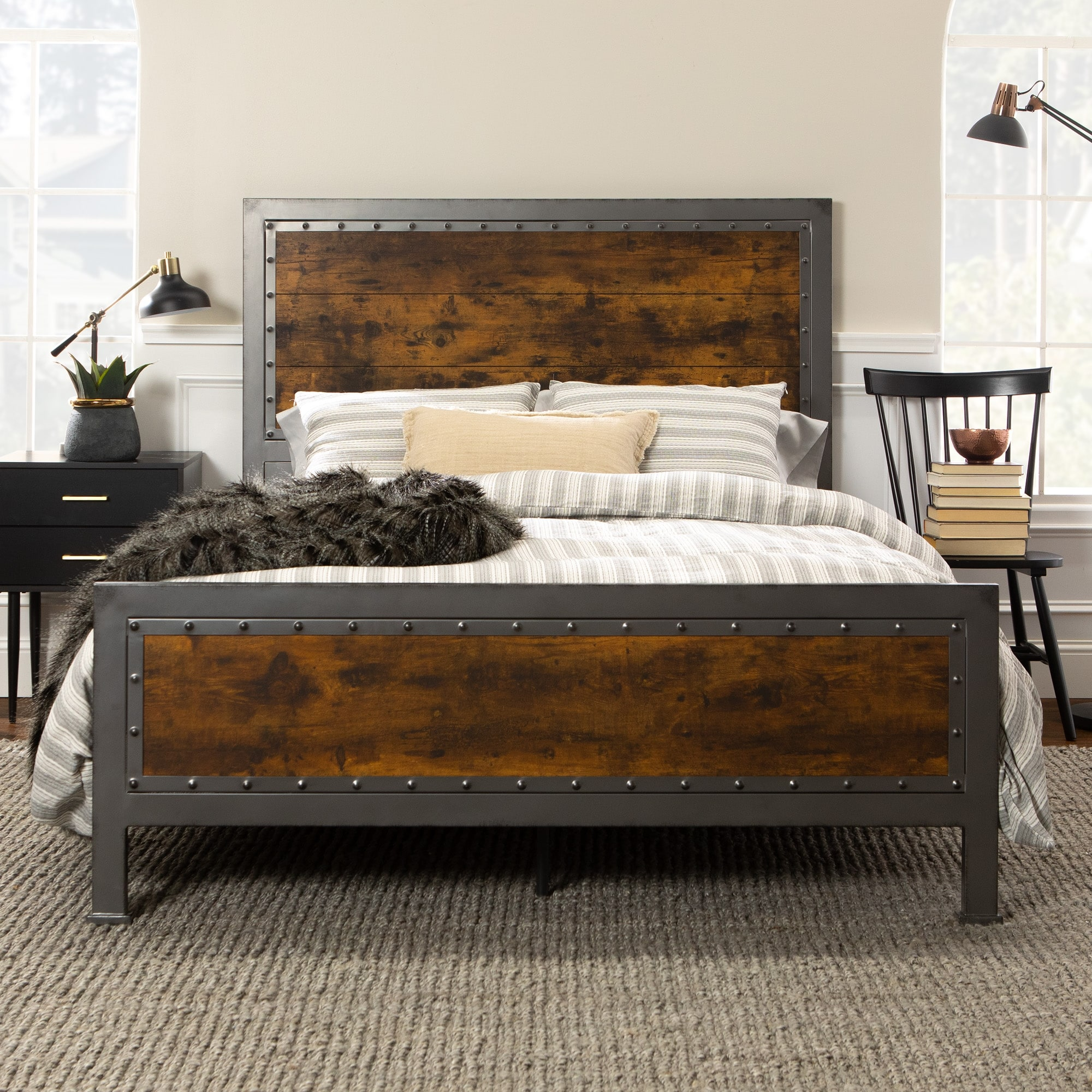 Carbon Loft Santos Queen Size Rustic Metal Frame Panel Bed On Sale Overstock 13843421