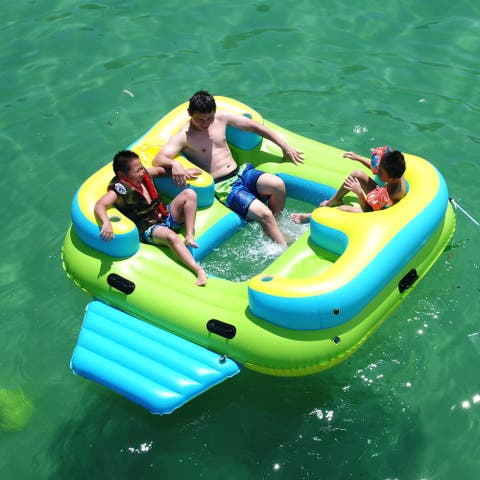 ALEKO Inflatable Floating Island Lounge Raft with Cup Holders and Coolers - 4 Person - Green with Blue, Yellow