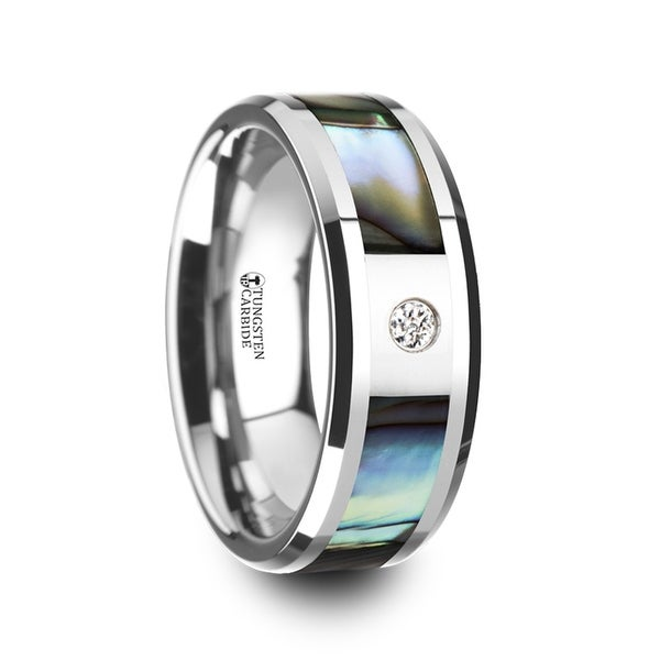 Honolulu Mother Of Pearl Inlay Tungsten Carbide Ring With Beveled Edges And White Diamond