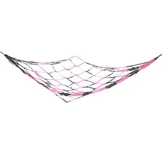 Unique Bargains Unique Bargains 2.1Mx1.8M Garden Leisure Fuchsia Black Hang Meshy Hammock Sleeping Relexing Bed