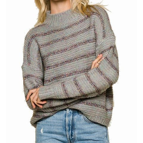 Raga Gray Womens Size Small S Mock-Neck Striped Knitted Sweater
