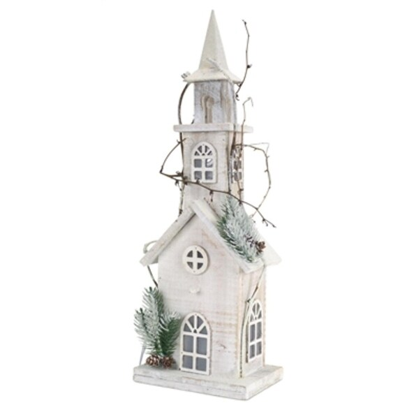 "Pack of 2 Pre-Lit Wooden Church with Pine and Twigs Christmas Decorations 22"" - Clear LED Lights"