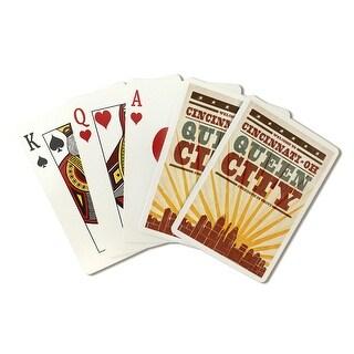 Cincinnati OH Skyline & Sunburst Screen LP Artwork (Poker Playing Cards Deck)