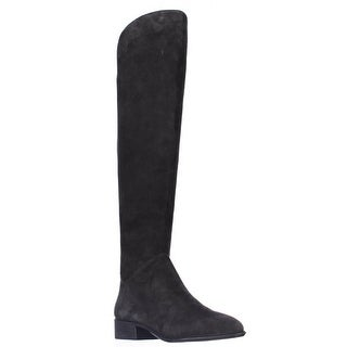 Dolce Vita Meris Flat Over-The-Knee Boots - Anthracite Suede