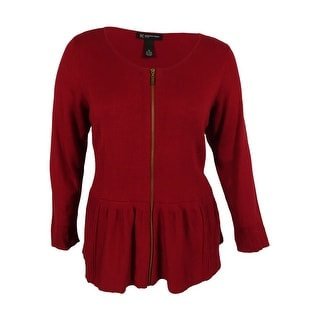 INC International Concepts Women's Zip-Front Peplum Cardigan - 3x