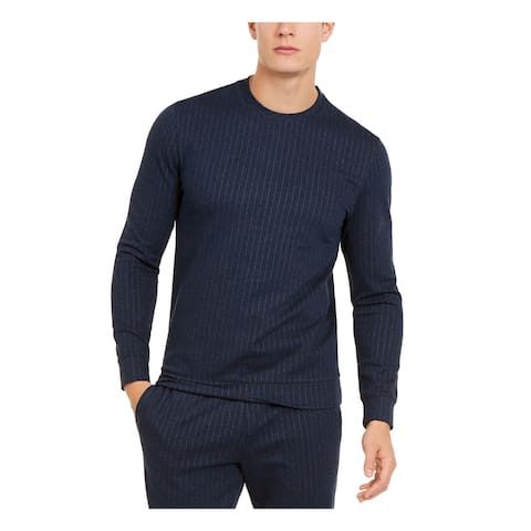 ALFANI Mens Navy Heather Long Sleeve Crew Neck Classic Fit Sweatshirt L