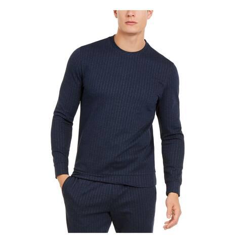 ALFANI Mens Navy Pinstripe Long Sleeve Crew Neck Classic Fit Sweatshirt M