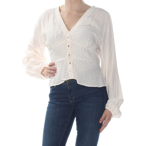 FREE PEOPLE Womens Ivory Polka Dot Long Sleeve V Neck Wear To Work Top Size: M