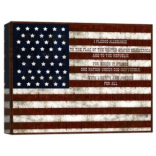 """PTM Images 9-124798  PTM Canvas Collection 8"""" x 10"""" - """"I Pledge To America II"""" Giclee American Flag Art Print on Canvas"""