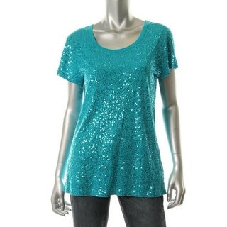 DKNY Womens Sequined Short Sleeves Pullover Top - S