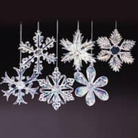 "Club Pack of 96 Ice Palace Iridescent Glass Snowflake Christmas Ornaments 2"" - CLEAR"