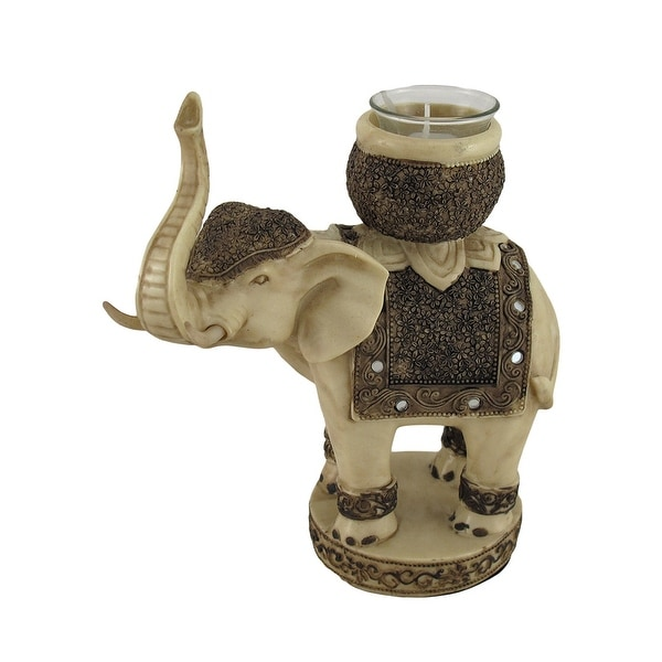 Antiqued Finish Elephant Tealight / Votive Candle Holder - 8 X 7 X 4 inches