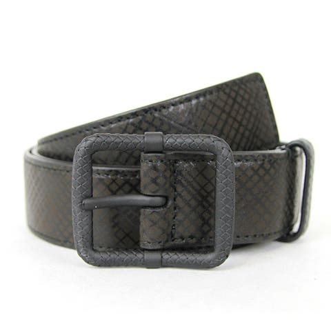 Bottega Veneta Unisex Black Green Leather Belt 298791 1000 (95 / 38)
