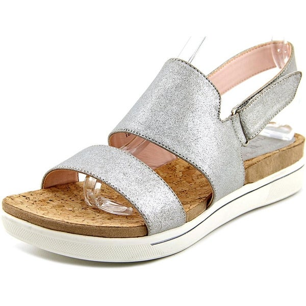 Taryn Rose Chaz Women Open-Toe Synthetic Silver Slingback Sandal
