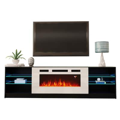 Boston WH01 79-inch Modern Electric Fireplace TV Stand